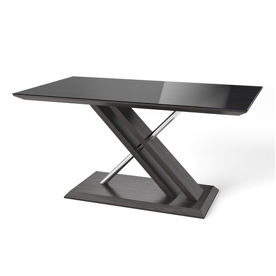 Minsk Glass Dining Table In Black And Grey Walnut