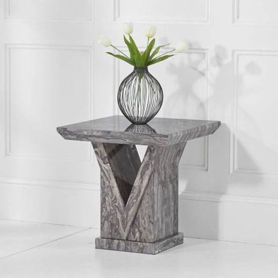 Belcher Marble Lamp Table In Grey High Gloss