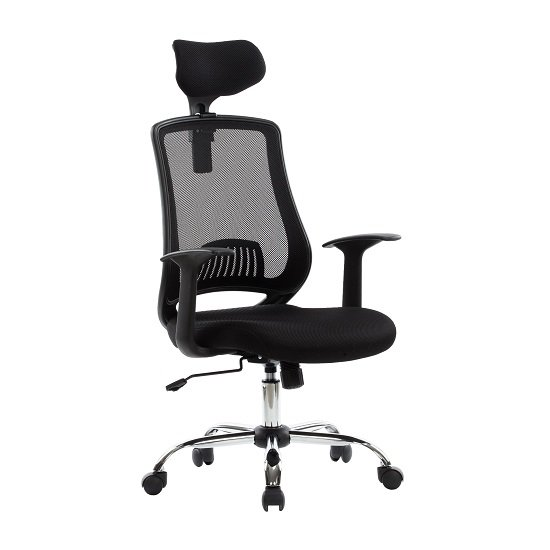 Minsk Home Office Chair In Black Mesh With Fabric Seat_1