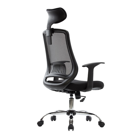 Minsk Home Office Chair In Black Mesh With Fabric Seat_2