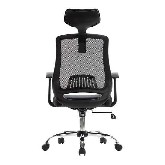 Minsk Home Office Chair In Black Mesh With Fabric Seat_3