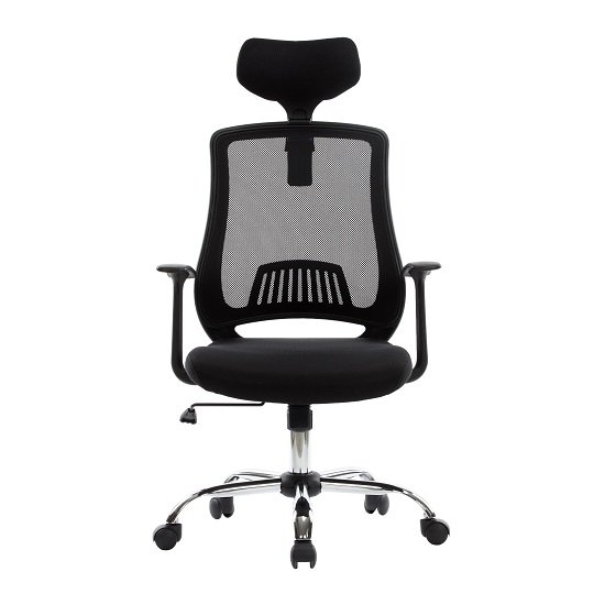 Minsk Home Office Chair In Black Mesh With Fabric Seat_4