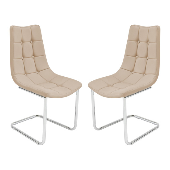 Mintaka Beige Faux Leather Dining Chairs In Pair