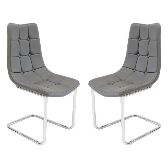 Mintaka Grey Faux Leather Dining Chairs In Pair