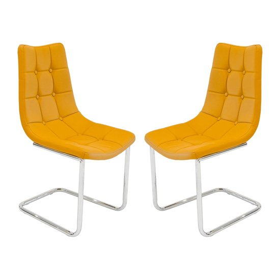 Mintaka Mustard Yellow Faux Leather Dining Chairs In Pair