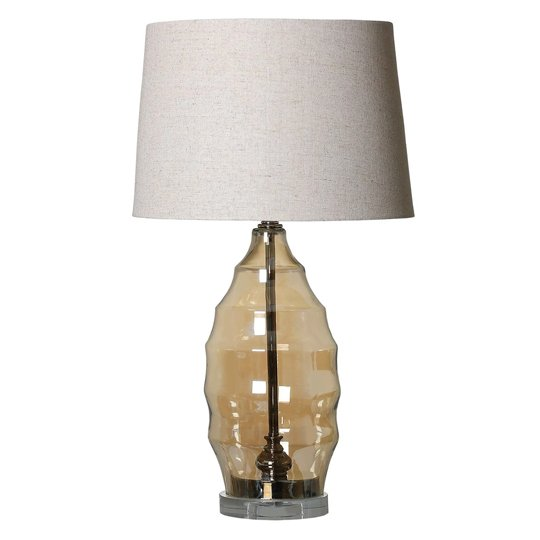 Mira Table Lamp With Amber Glass Bubble Effect Base