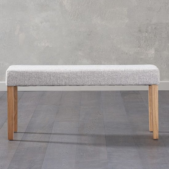Miram Small Grey Soft Fabric Dining Bench With Solid Oak Legs_1