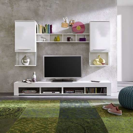 Miranda Living Room Set In White And Gloss Fronts With LED_3
