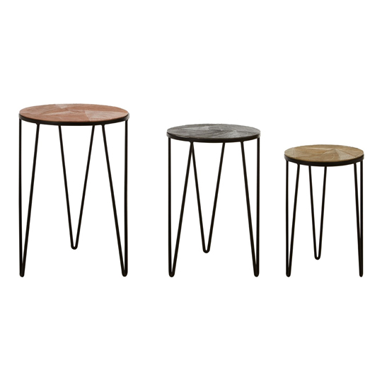 Jishui Set Of 3 Aluminium Side Tables With Iron Legs  _2