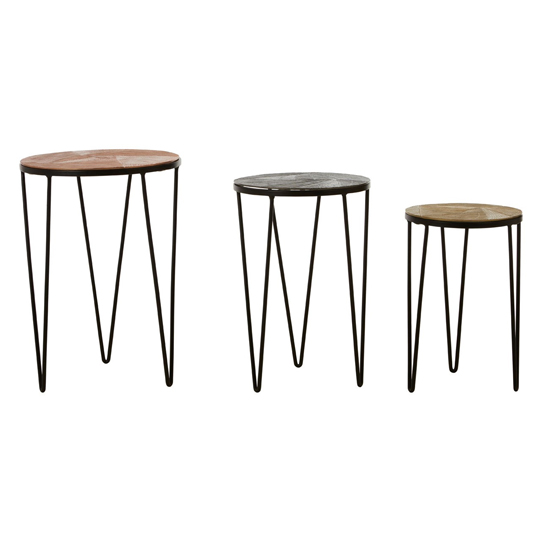 Jishui Set Of 3 Aluminium Side Tables With Iron Legs