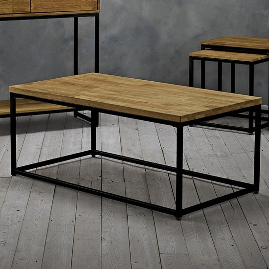 Mirelle Solid Oak Coffee Table With Black Metal Frame_2