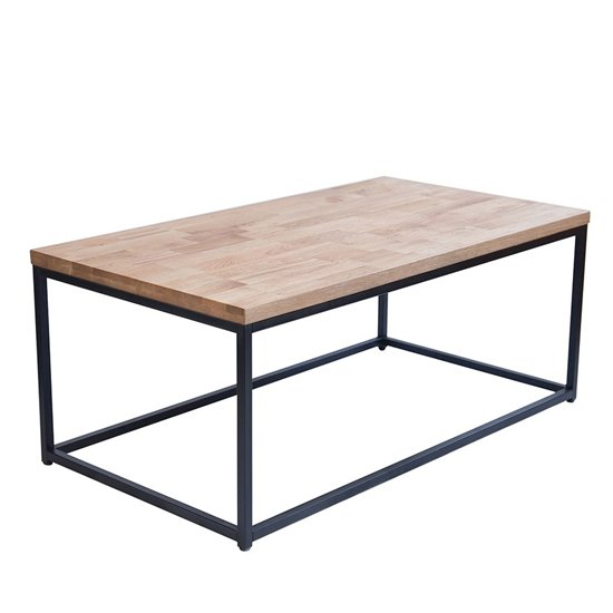 Mirelle Solid Oak Coffee Table With Black Metal Frame
