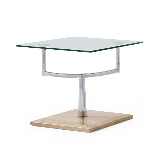 Miriam Glass End Table In Clear With Oak Finish High Gloss Base