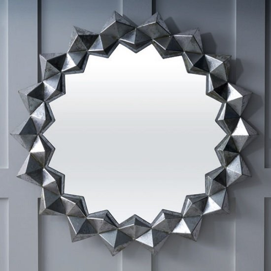 Miriam Contemporary Wall Mirror Round In Silver