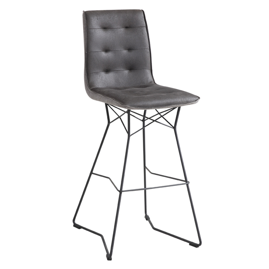 Mirko Fabric Bar Stool In Grey With Metal Legs