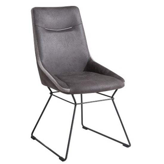 Mirko Fabric Dining Chair In Grey_1