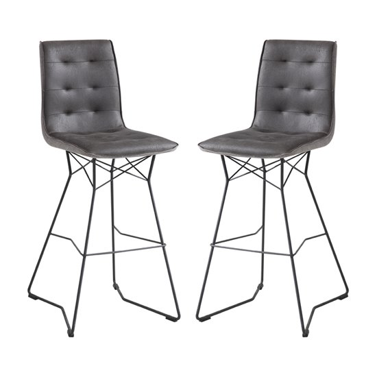 Mirko Grey Fabric Bar Stool In Pair With Metal Legs