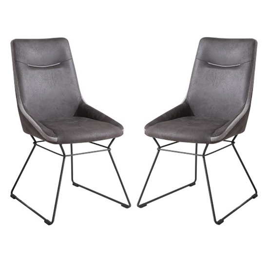 Mirko Grey Fabric Dining Chairs In Pair