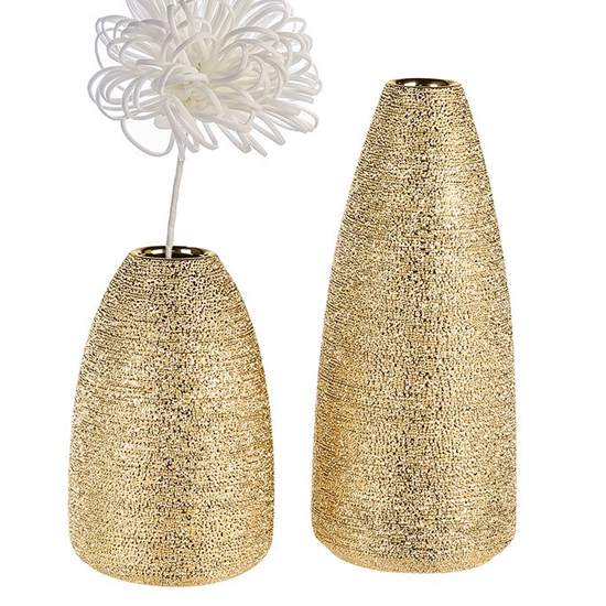Miro Ceramic Set Of 2 Decorative Vase In Champagne And Gold
