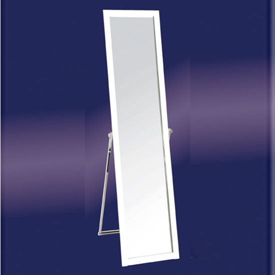 Floor standing mirror in white 10716 furniture in fashion for White long standing mirror
