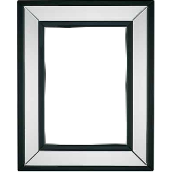 Bevelled Wall Mirror Square In Black And Clear Border