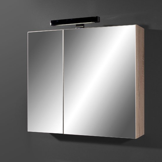 Santos Mirrored Bathroom Cabinet in Canadian Oak