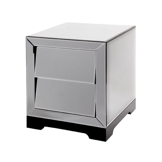 Slant Mirrored Glass 2 Drawer Bedside Cabinet 18692