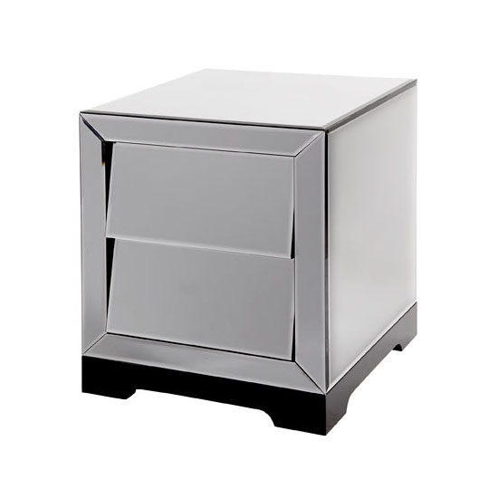 Slant Mirrored Glass 2 Drawer Bedside Cabinet
