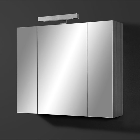 Juliana Mirrored Bathroom Cabinet in Carbon Ash Gloss White