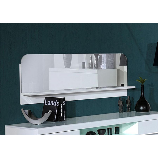 Read more about Fiesta wall mirror shelf in high gloss white