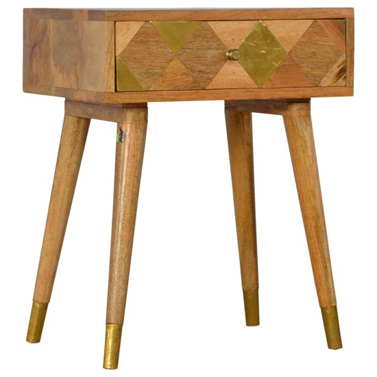 Mish Wooden Gold Brass Inlay Bedside Cabinet In Oak Ish