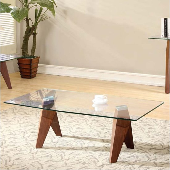 Mission Clear Glass Coffee Table
