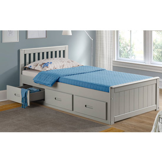 Mission Storage Single Bed In Grey With 3 Drawers