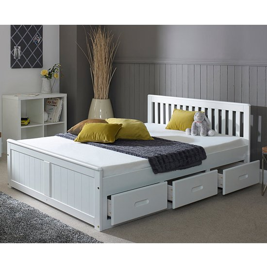 Mission Storage Small Double Bed In White With 3 Drawers