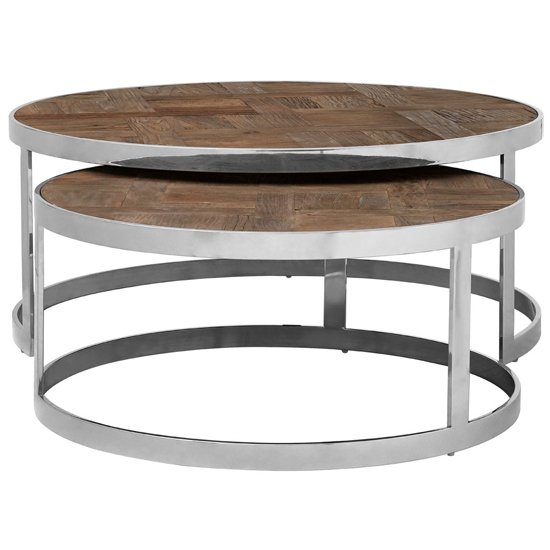 Mitrex Wooden Nest Of 2 Tables In Natural With Polished Legs