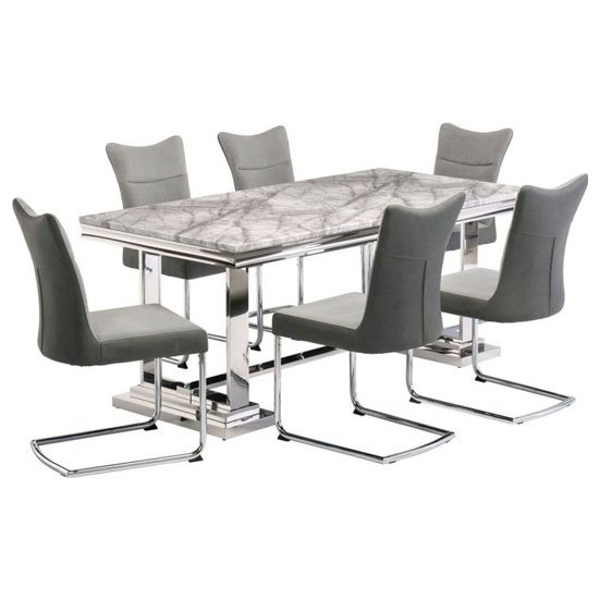 Mitzi Grey Marble Dining Set With 6 Grey Velvet Chairs_1