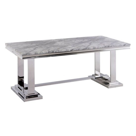 Mitzi Grey Marble Dining Table With Stainless Steel Base