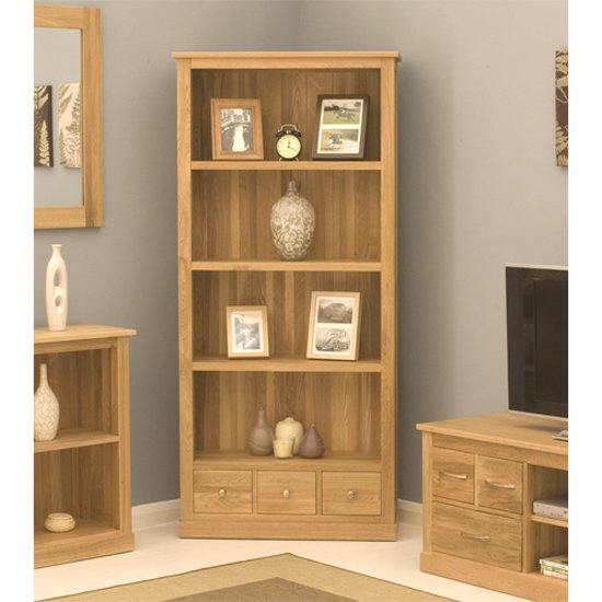 Artisan Large Bookcase In Oak With 3 Drawers
