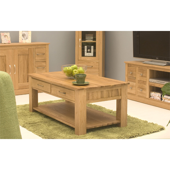 Artisan Storage Coffee Table In Oak With 4 Drawers