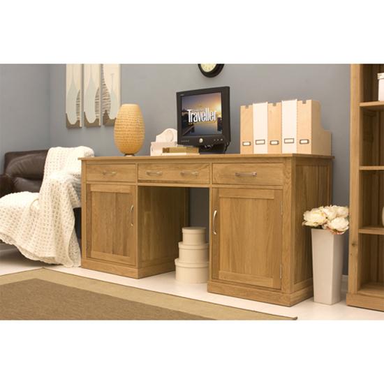 Artisan Large Hidden Office Twin Pedestal Desk In Oak