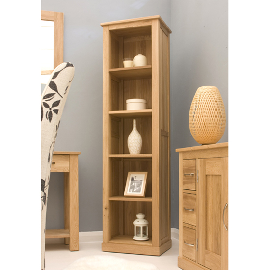 Artisan Wooden Narrow Bookcase In Oak