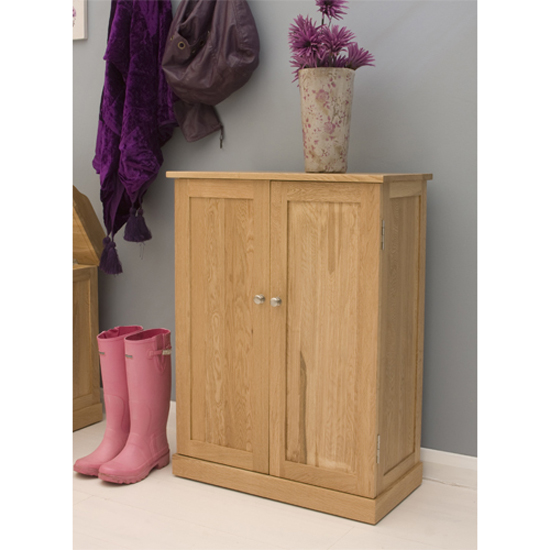 Artisan Wooden Shoe Cupboard In Oak With 2 Doors 8888