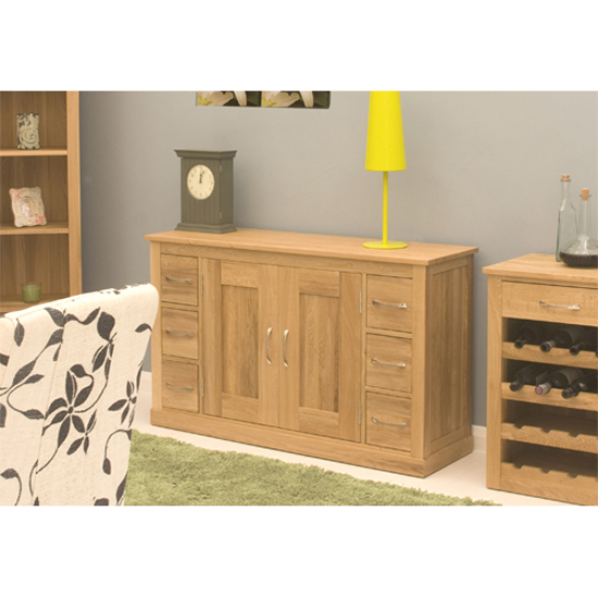Artisan Wooden Sideboard In Oak With 6 Drawers