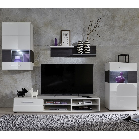 Mobel living room set in white with gloss fronts and led - Mobel for living ...