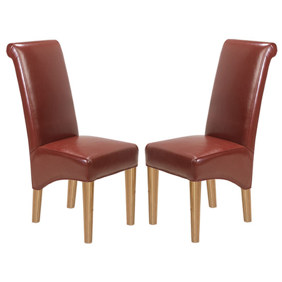 Modals Red Leather Dining Chairs In A Pair With Wooden Legs