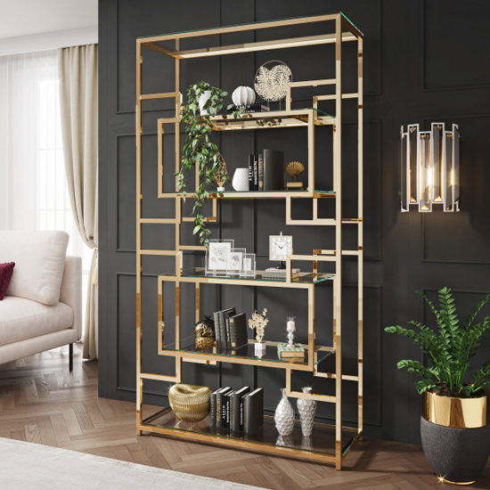 Modena Clear Glass Display Stand In Gold Stainless Steel Frame