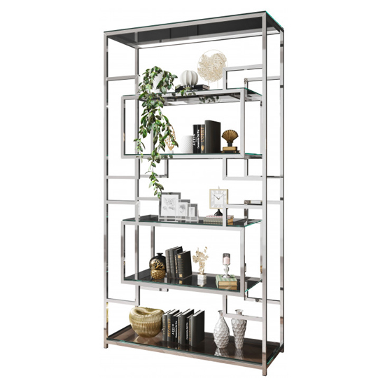 Modena Clear Glass Display Stand In Silver Stainless Steel Frame_2
