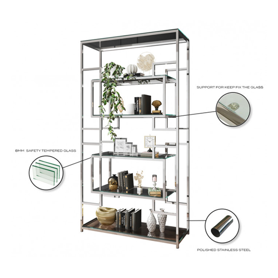 Modena Clear Glass Display Stand In Silver Stainless Steel Frame_3