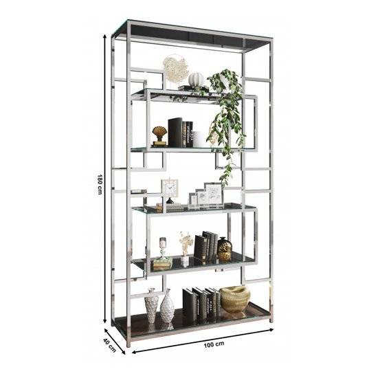 Modena Clear Glass Display Stand In Silver Stainless Steel Frame_4