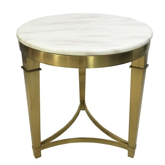 Modena Marble Coffee Table In White With Metal Frame